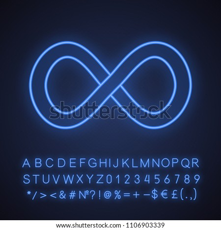 Infinity sign neon light icon. Lemniscate. Endless. Glowing sign with alphabet, numbers and symbols. Vector isolated illustration #1106903339
