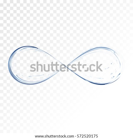 Infinity symbol. Blue water splash transparent. Aqua as not endless and limitless resource, ecological problem concept. vector 3d illustration.