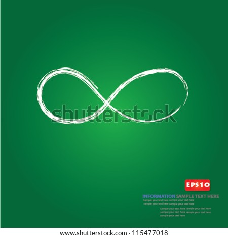 Infinity symbol drawing on blackboard background,Vector - stock vector