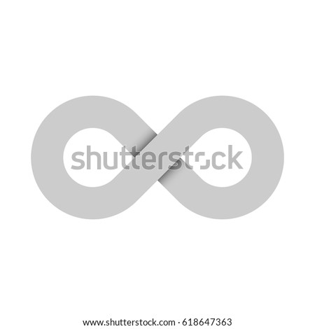 Infinity symbol icon. Representing the concept of infinite, limitless and endless things. Simple grey vector design element on white background.