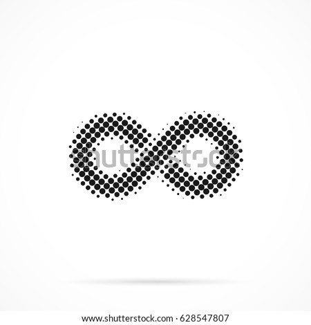 Infinity symbol in halftone. Dotted illustration isolated on a white background. Vector illustration.