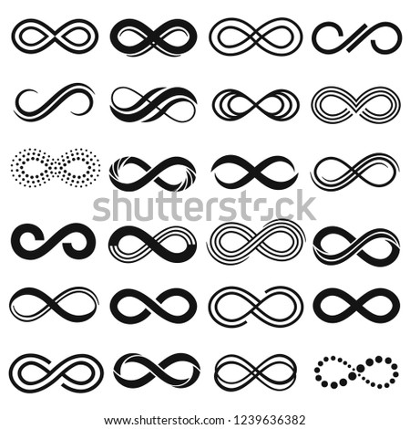 Infinity symbol. Infinit repetition, unlimited contour and endless infinite sign. Eternity curve loop figure logotype infinity silhouette. Isolated vector symbols set