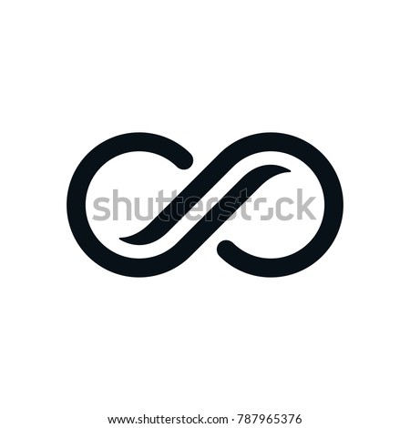 Infinity symbol on white background. Lap streaked curvy letters view. #787965376