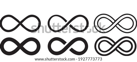 Infinity symbol set in abstract style. Isolated on a white background. Round logo. Future concept. Vector Illustration.