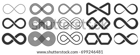 Infinity symbol. Vector logos set. Black contours of different shapes, thickness and style isolated on white. Symbol of repetition and unlimited cyclicity. - Shutterstock ID 699246481
