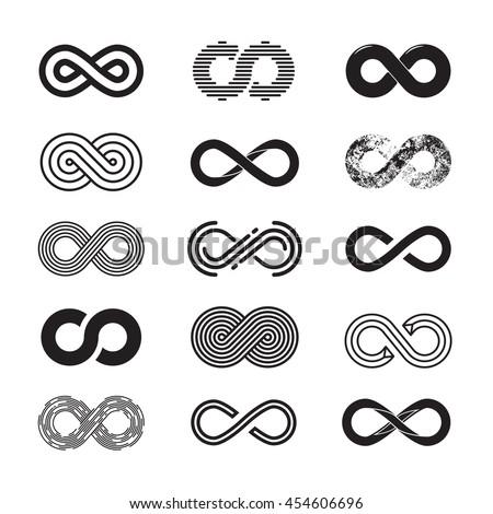 Infinity symbol, vector set. Isolated on white background. EPS 10