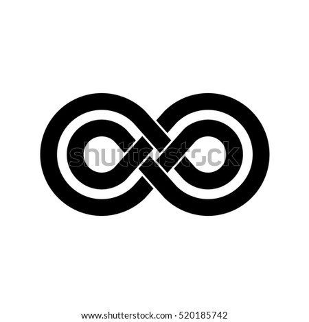 Infinity symbol with two crossed linear shapes. Black color.
