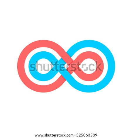 Infinity symbol with two crossed linear shapes. Blue and pink colors.