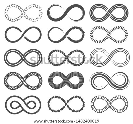 Infinity symbols. Endless loop shape, unlimited signs, eight isolated vector symbolism logos infinite black geometric icons, different emblem silhouette set #1482400019