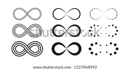 Infinity symbols. Eternal, limitless, endless, life icons or signs concept. Isolated on a white background. #1227068992