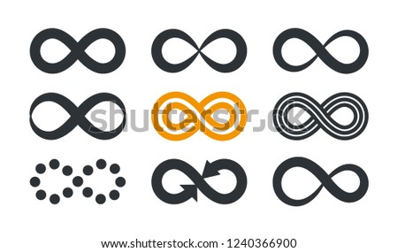Infinity symbols. Repetition and unlimited cyclicity in different style isolated on white background. #1240366900