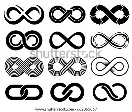 Infinity vector symbols. Mobius loop icons. Infinite sign and eternity line loop illustration