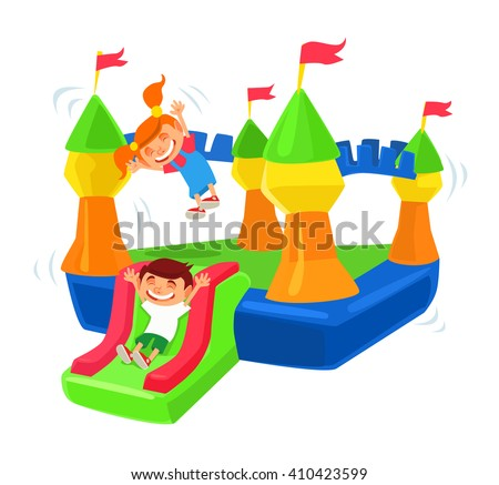 Inflatable castle trampoline. Vector flat cartoon illustration