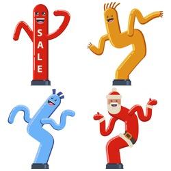 Inflatable dancing tube man vector cartoon flat set. Wacky waving air hand icons for sales and advertising.