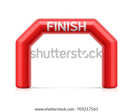 Inflatable finish line arch illustration. Red inflatable archway, suitable for different outdoor sport events like marathon racing, triathlon, skiing and other, vector illustration