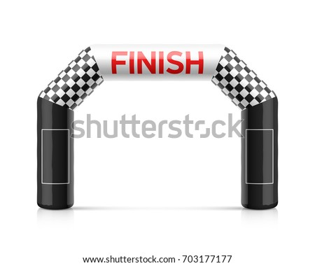 Inflatable finish line arch. Inflatable archway template with checkered flag and places for sponsors advertising. Suitable for different outdoor sport events like marathon racing, skiing and other.