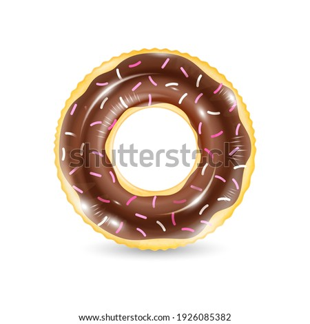 Inflatable ring looking like donut isolated on white background. Realistic colorful rubber swimming buoy. Vector illustration of top view at pool floater in glazed doughnut shape, beach toy Photo stock ©