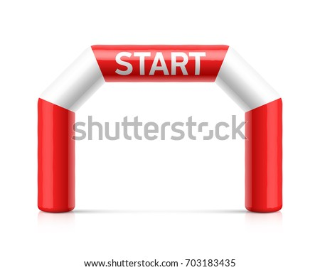 Inflatable start line arch illustration. Red and white inflatable archway. Suitable for different outdoor sport events like marathon racing, triathlon, skiing and other, vector illustration