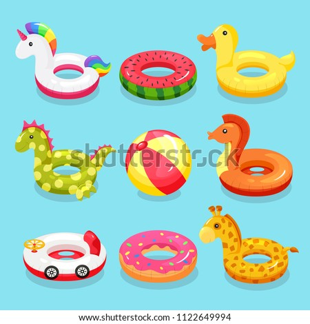 Inflatable swimming ring set. Cute water toys to keep afloat when kids are learning to swim. Vector flat style cartoon inflatable items illustration isolated on blue background ストックフォト ©