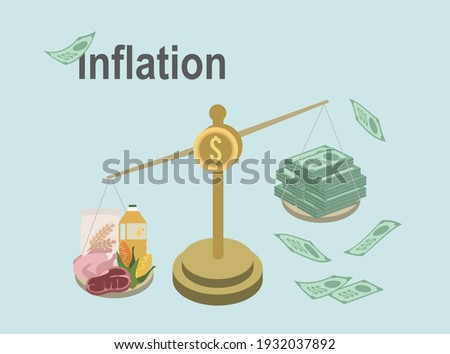 Inflation. Goods prices, money value on scale example. Explained economical finance changes process. Increasing general price level and purchase are getting more expensive annually.