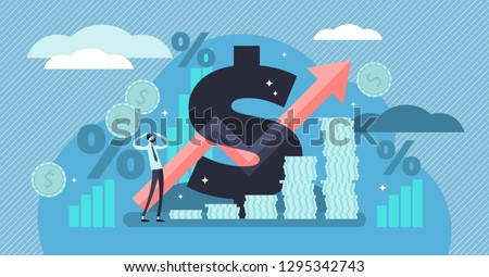 Inflation vector illustration. Flat tiny person concept with basic economy term. Money value recession and price increase process. Finance market risk crisis in percentage rate. Unstable nominal worth