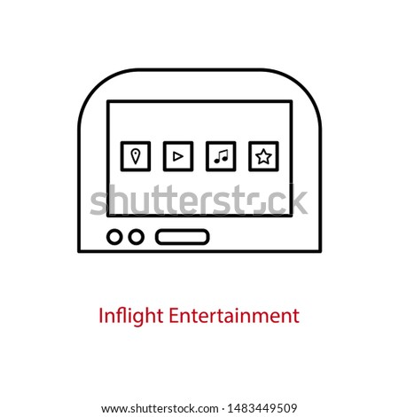 Inflight entertainment screen icon on an airplane seatback. ストックフォト ©