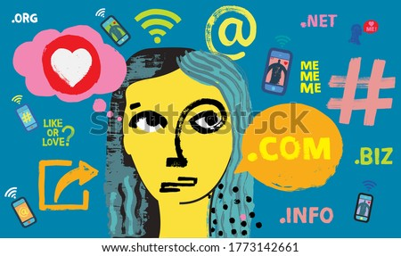 Influencer Girl surrounded by smartphones and social media symbols, Lady Influencing, Woman, Instagram, marketing, follower, Customer Engagement, posting, Facebook, Snapchat, TikTok, WhatsApp, Youtube