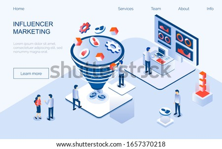 Influencer marketing isometric concept vector for landing page. Impact on B2C customers, potential buyers or consumer products in online market, Internet communication business in trendy flat style.