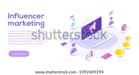 Influencer marketing isometric vector illustration. Blog advertising goods via internet social media. Website or blog ad influence on potential buyers.
