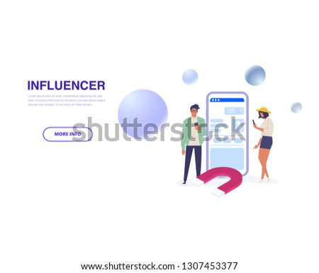 Influencer marketing.  Potential product buyers or consumer products buyer, online engagement communication business or digital customer research process strategy illustration #1307453377