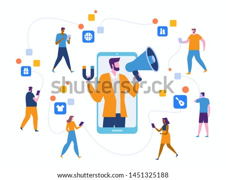 Influencer marketing. Potential product buyers or consumer products buyer, online engagement communication business or digital customer research process strategy illustration