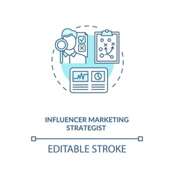 Influencer marketing strategist concept icon. Building strategy idea thin line illustration. Working with data. SEO, social media. Vector isolated outline RGB color drawing. Editable stroke