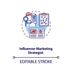 Influencer marketing strategist concept icon. Building strategy idea thin line illustration. Working with data. Content marketing. Vector isolated outline RGB color drawing. Editable stroke