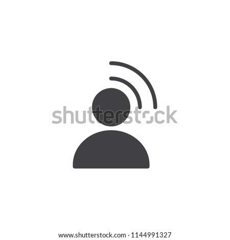 Influencer vector icon. filled flat sign for mobile concept and web design. Person Broadcasting simple solid icon. Symbol, logo illustration. Pixel perfect vector graphics