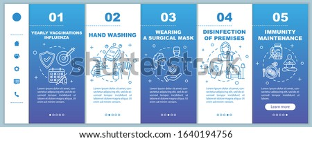 Influenza virus precaution onboarding vector template. Sanitation and hygiene habits. Premises disinfection. Responsive mobile website with icons. Webpage walkthrough step screens. RGB color concept