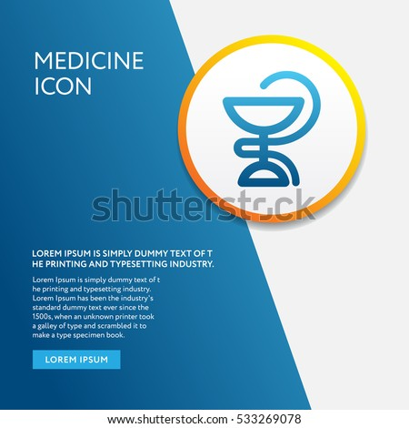 Info Board with Background and Medicine Icon Symbol Outline Design Style