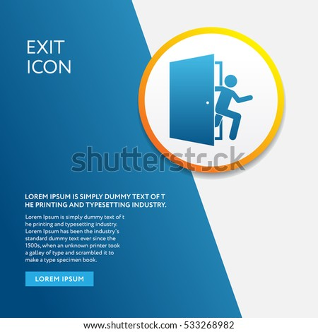 Info Board with Exit Icon Emergency Symbol