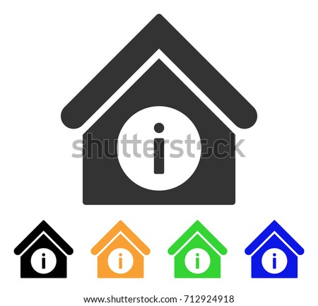 Info Building icon. Vector illustration style is a flat iconic info building symbol with black, gray, green, blue, yellow color versions. Designed for web and software interfaces.