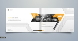 Info card style. White a4 brochure cover design. Fancy banner board. Title sheet model set. Modern vector front page art. City houses texture. Yellow frame, lines, brand logo icon. Ad flyer text font