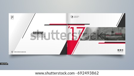 Info card style. White a4 brochure cover design. Fancy banner board. Title sheet model set. Modern vector front page art. City houses texture. Red frame, line form, brand logo icon. Ad flyer text font