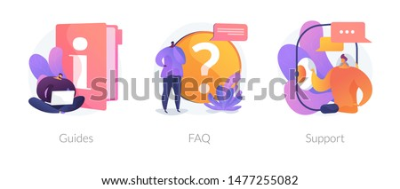 Info center, customer online communication web icons set. Helpdesk, clients assistance, helpful information. Guides, FAQ, support metaphors. Vector isolated concept metaphor illustrations