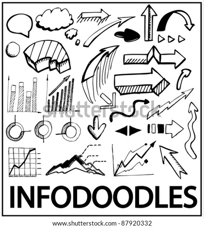 Info doodles. Vector hand drawn design elements: arrows, charts, bars, trends, bubbles