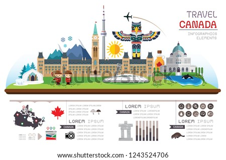 Info garphic travel and landmarks Canada. Template design. Vector illustration.