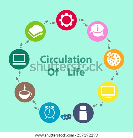 Info graphic Circulation of Life of one day of live working person Photo stock ©