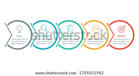 Info graphic for business presentation with 5 steps or option. Timeline infographics template with colorful circles and outline icons. Five parts for workflow layout design. Vector illustration.