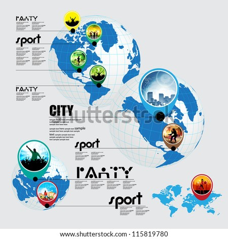 Info graphic of music, sport and shopping on the world
