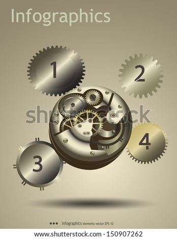Clock Gears Diagram Info graphic with clock gear