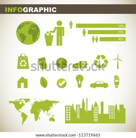 info graphic with people sign and green elements. vector illustration