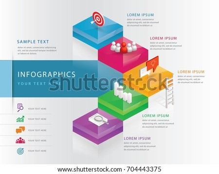 Info graphics design template, Step to Success