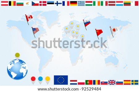 Info graphics. Flags of EU countries on world map and globe with pointers